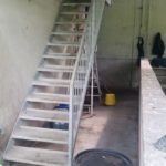 Milking parlour stairs to access loft